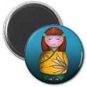 Redheaded Kokeshi, round magnet magnet