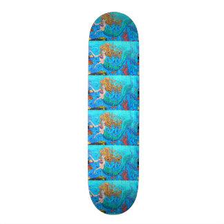 redheaded mermaid blue skateboard
