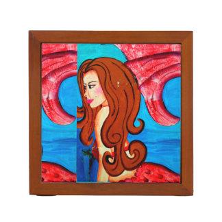 redheaded mermaid  laughing dolpins desk organizer