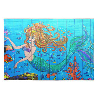 redheaded mermaid placemat cloth place mat