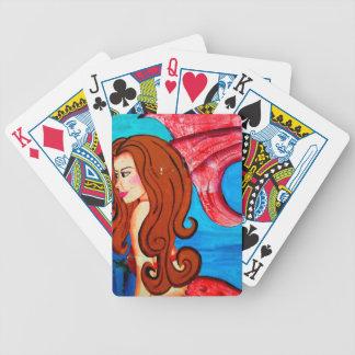redheaded mermaid playing cards