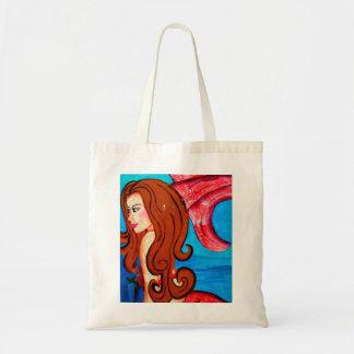 redheaded mermaid tote bag