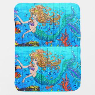 redheaded mermaid underwater receiving blanket