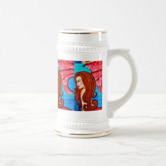 redheaded mermaids beer stein mug