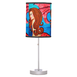 redheaded mermaids table lamp
