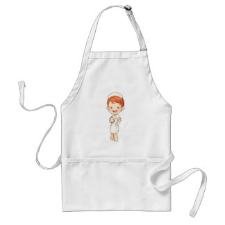 Redheaded Traditional Nurse Holding Clipboard Adult Apron