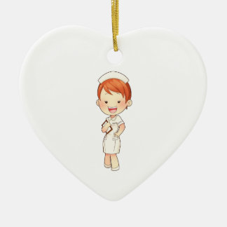 Redheaded Traditional Nurse Holding Clipboard Ceramic Ornament