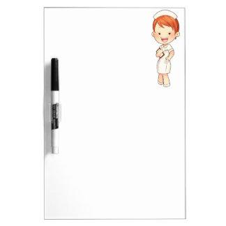 Redheaded Traditional Nurse Holding Clipboard Dry-Erase Board