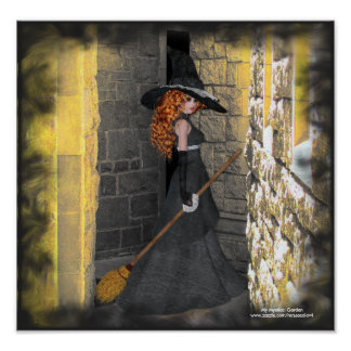 Redheaded Witch in the Hallway Poster/Print Poster