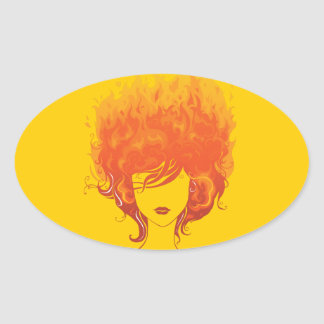 Redheaded Woman, Red Fire Hair Oval Sticker