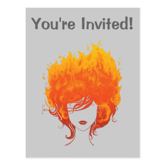 Redheaded Woman, Red Fire Hair Postcard