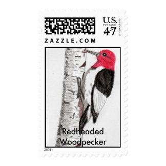 Redheaded Woodpecker Postage Stamps