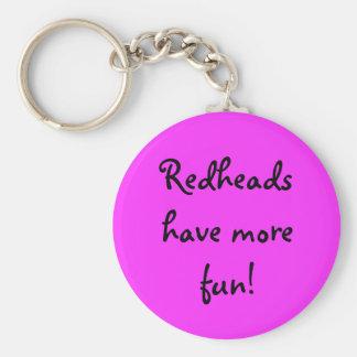 Redheads have more fun! basic round button keychain