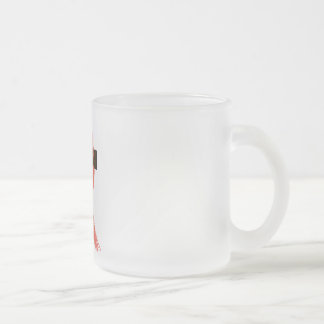 RedHeart Disease / AIDS / HIV Ribbon Frosted Glass Coffee Mug