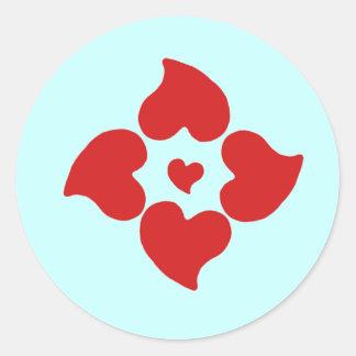 redheartpattern classic round sticker