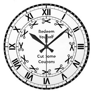 Redímase - corte las tijeras divertidas de algunas reloj redondo grande
