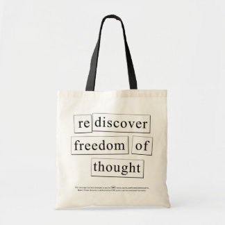 rediscover freedom of thought tote bag