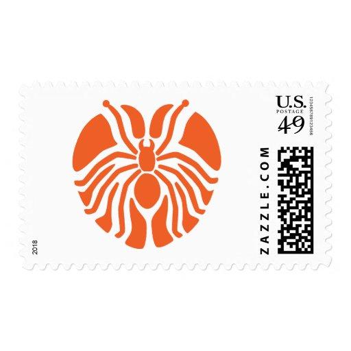 Redish Heart Shaped Spider Stamp