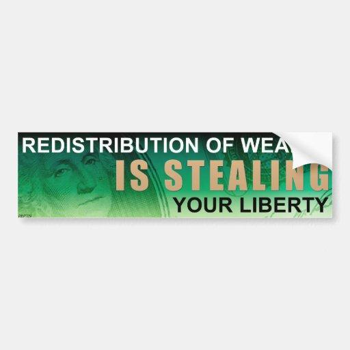 Redistribution of Wealth Car Bumper Sticker