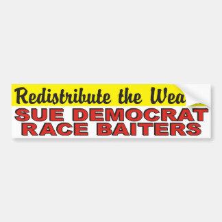 Redistribuya la raza Baiters de Sue Demócrata de l Pegatina De Parachoque