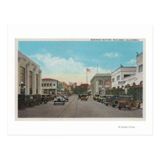 Redlands, CA - el centro de ciudad del distrito Tarjetas Postales