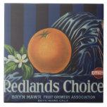 Redlands Choice Orange Crate Label Large Square Tile