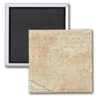 Redlands quadrangle showing San Andreas Rift 2 Inch Square Magnet