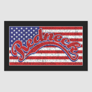 Redneck and Flag Rectangular Sticker