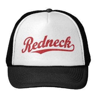 Redneck distressed script logo trucker hats