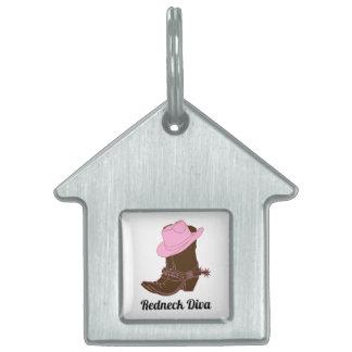 Redneck Diva Cowboy Hat Boots Doggy House Pet Tag