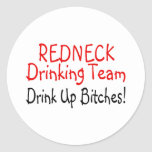 Redneck Drinking Team (Red Black) Classic Round Sticker