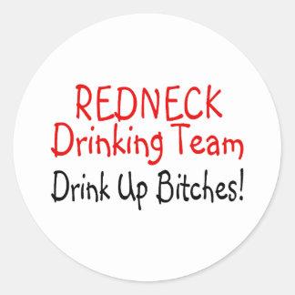 Redneck Drinking Team (Red Black) Round Stickers