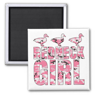 Redneck Girl Pink Camouflage 3 Ducks 2 Inch Square Magnet