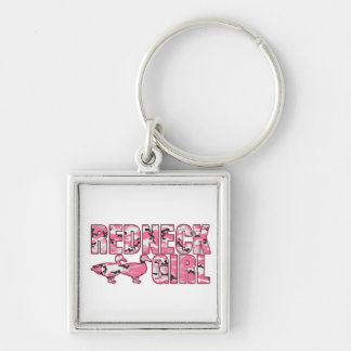 Redneck Girl Pink Camouflage Two Ducks Silver-Colored Square Keychain