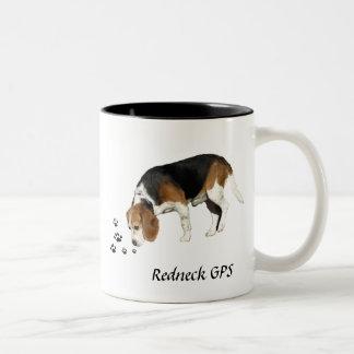 Redneck GPS Beagle Hound Two-Tone Coffee Mug
