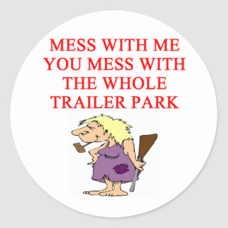 redneck hillbilly joke classic round sticker