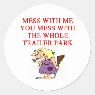 redneck hillbilly joke round stickers
