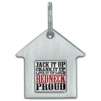 Redneck Proud Black and Red Pet ID Tag