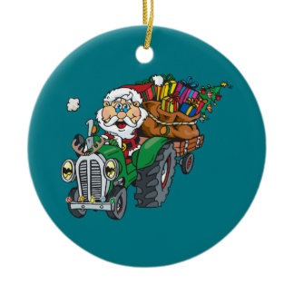 Redneck santa is coming to town on his tractor ceramic ornament
