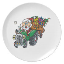 Redneck santa is coming to town on his tractor dinner plate