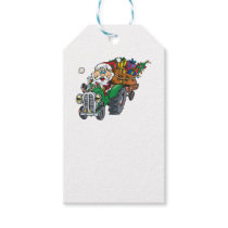 Redneck santa is coming to town on his tractor gift tags