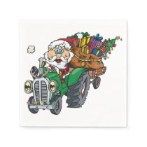 Redneck santa is coming to town on his tractor paper napkin