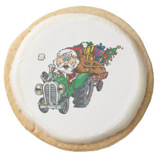 Redneck santa is coming to town on his tractor round shortbread cookie