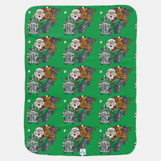 Redneck santa is coming to town on his tractor stroller blanket