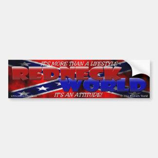 REDNECK WORLD CAR BUMPER STICKER