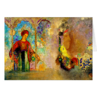 Redon - Gothic Arcade, Woman Gathering Flowers Card