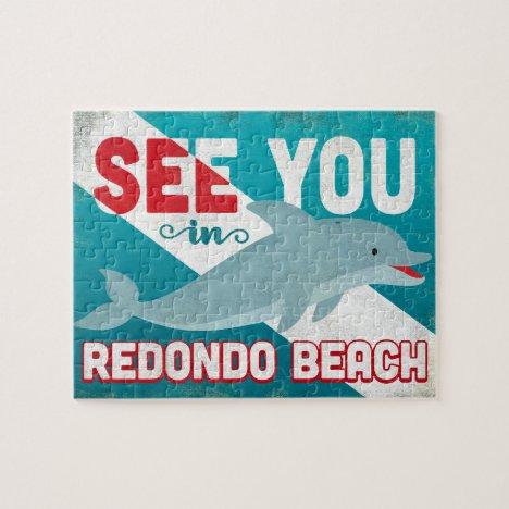 Redondo Beach Dolphin - Retro Vintage Travel Jigsaw Puzzle