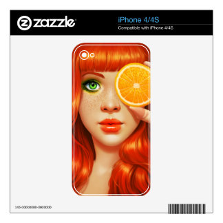 RedOrange Calcomanía Para iPhone 4