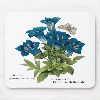 Redoute Blue Flower Mousepad