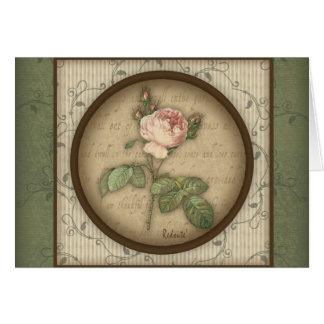 Redoute' Botanical Vintage Rose Greeting Card